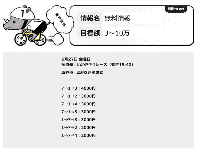 チャリマジ-9月27日いわき平1R無料予想